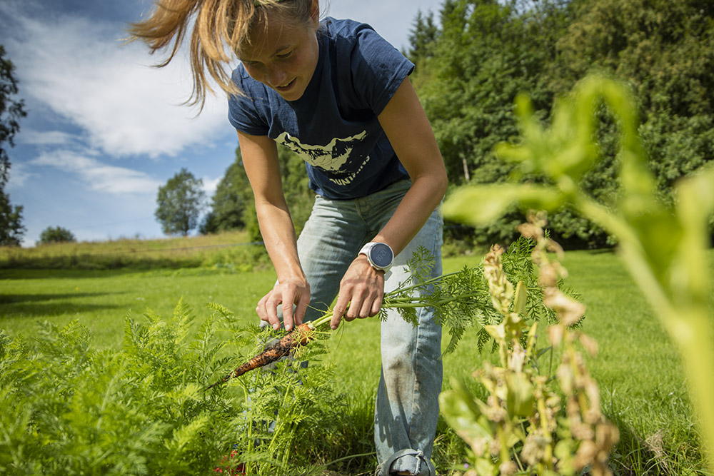 When she's not in the mountains, you can find Emelie in her garden or preparing delicious meals.